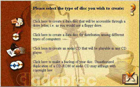 Graphic of Easy CD first screen