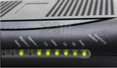Broadband modem showing lights