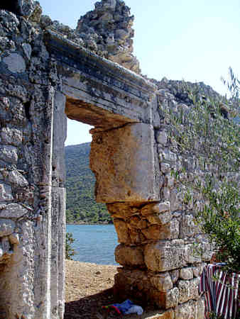 Entrance to ancient bath house at Aparlae