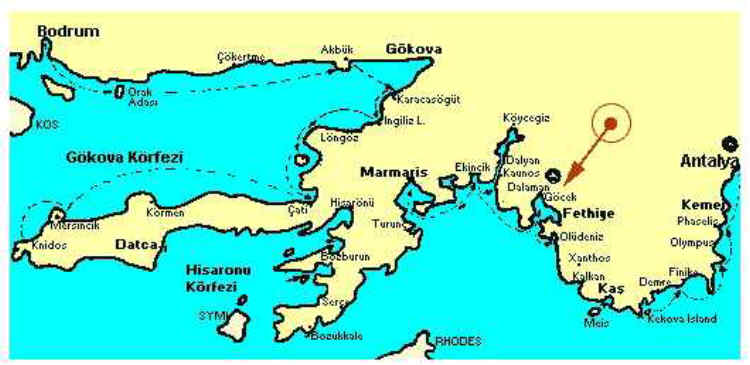 Map of Lycian Coast
